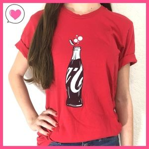Tops - Coca-Cola Coke 100 years bottle red graphic tee M